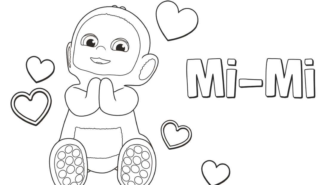 Mi-Mi is always first. Colour her in with your little one.