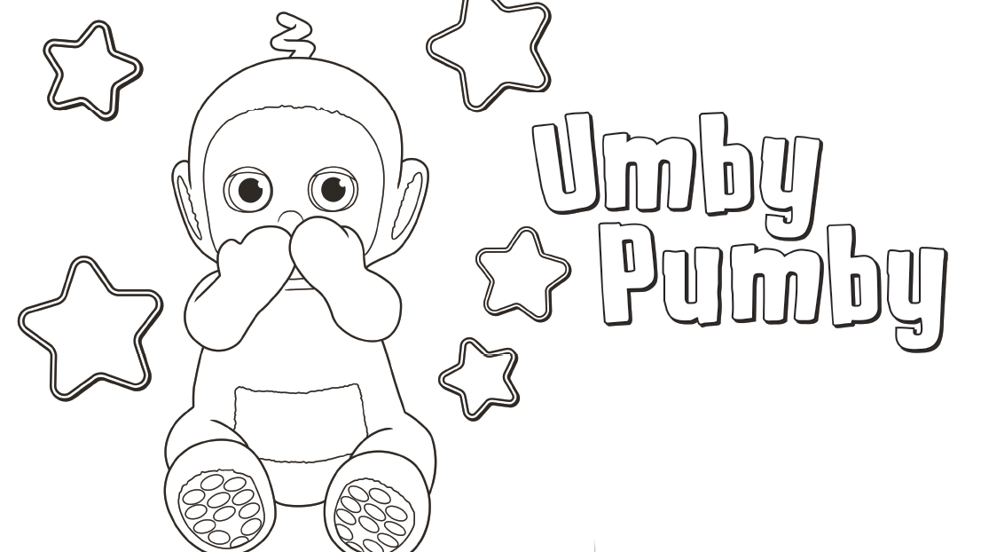 Umby Pumby is awake! Colour him in, don't forget the stars.